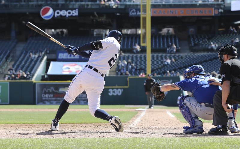 Detroit Tigers' JaCoby Jones, left, connects for a walkoff solo home run during the 10th inning of the first game of a baseball doubleheader against the Kansas City Royals, Friday, April 20, 2018, in Detroit. (AP Photo/Carlos Osorio)