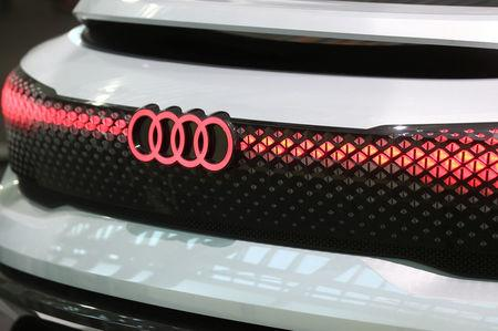 FILE PHOTO: Audi sign is seen on the show car at the Audi Forum before the company's annual shareholders meeting in Ingolstadt