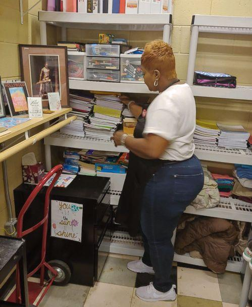 PHOTO: Carolyn Collins, a custodian at Tucker High School in Tucker, Ga., gives clothes, school supplies and snacks to less fortunate students. (Courtesy Carolyn Collins)