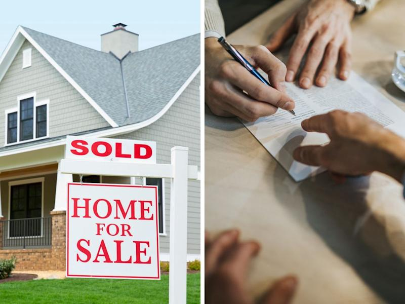 A photo of a 'home for sale' sign and a contract being signed.