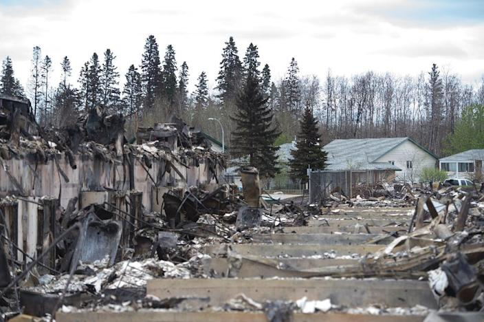 Untouched homes are seen next to others destroyed by fire in the Abasands neighbourhood of Fort McMurray, Alberta, May 9, 2016 (AFP Photo/Jonathan Hayward)