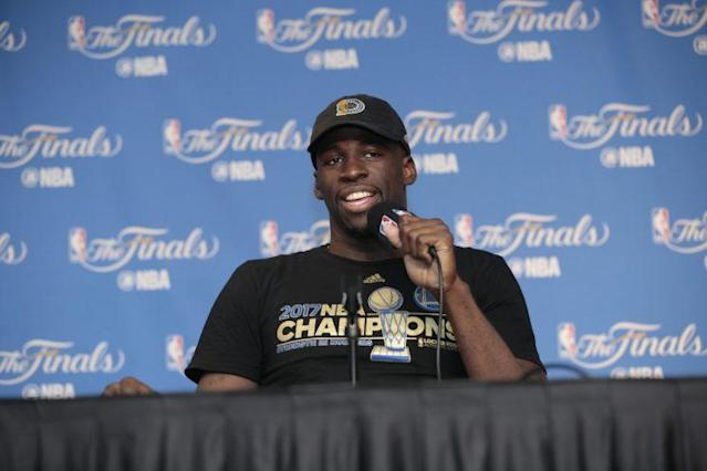 "<a class=""link rapid-noclick-resp"" href=""/nba/players/5069/"" data-ylk=""slk:Draymond Green"">Draymond Green</a> was entertaining as always at his postgame news conference. (Getty)"