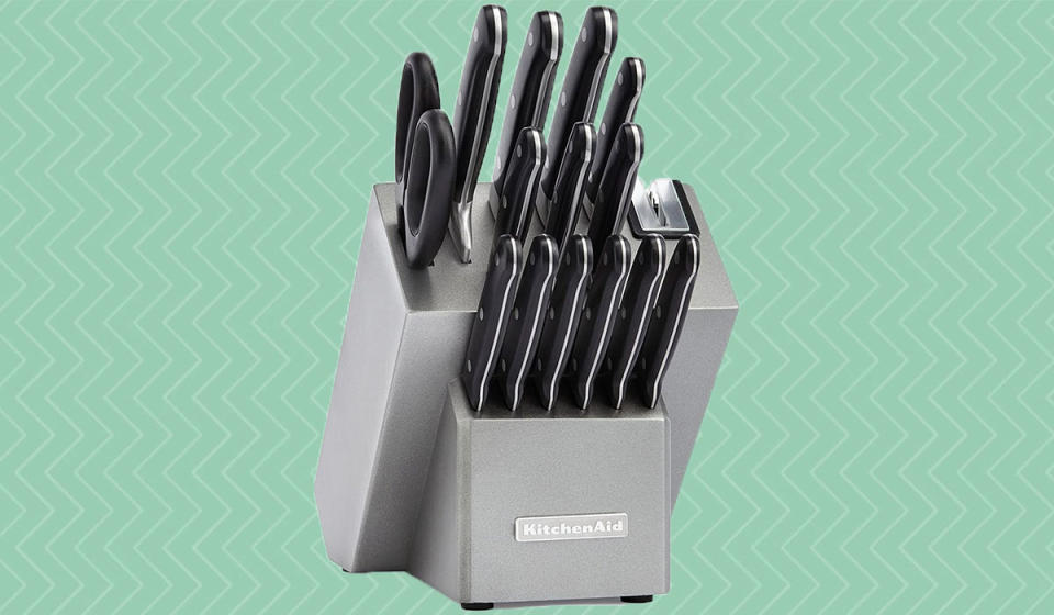 You'll never regret purchasing a KitchenAid knife set—especially at $55 off. (Photo: Amazon)
