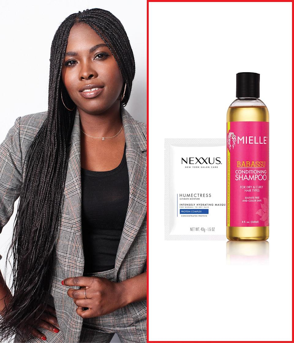 """<a href=""""https://www.target.com/p/mielle-organics-babassu-oil-conditioning-sulfate-free-shampoo-8-fl-oz/-/A-50661863"""" rel=""""nofollow noopener"""" target=""""_blank"""" data-ylk=""""slk:Mielle Organics' Babassu Oil Shampoo"""" class=""""link rapid-noclick-resp"""">Mielle Organics' Babassu Oil Shampoo</a> is great for dry hair, but thanks to its lightweight formula, it won't weigh curls down. If you're looking for products that aren't loaded with sulfates and have organic ingredients, this one is definitely worth a try. To amp up moisture, <a href=""""https://shop-links.co/1695548559675862653"""" rel=""""nofollow noopener"""" target=""""_blank"""" data-ylk=""""slk:Nexxus's Humectress Mask"""" class=""""link rapid-noclick-resp"""">Nexxus's Humectress Mask</a> is a super-hydrating pick. I suggest it to clients during the dry season, and it helps lock in the moisture, which is beneficial to all hair types. <em>—</em><a href=""""https://www.instagram.com/lacyredway/?hl=en"""" rel=""""nofollow noopener"""" target=""""_blank"""" data-ylk=""""slk:Lacy Redway"""" class=""""link rapid-noclick-resp""""><em>Lacy Redway</em></a><em>, celebrity hairstylist</em> $14, Target. <a href=""""https://www.target.com/p/mielle-organics-babassu-oil-conditioning-sulfate-free-shampoo-8-fl-oz/-/A-50661863"""" rel=""""nofollow noopener"""" target=""""_blank"""" data-ylk=""""slk:Get it now!"""" class=""""link rapid-noclick-resp"""">Get it now!</a>"""