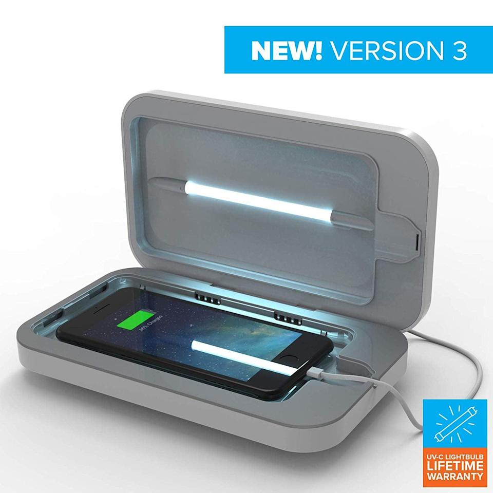 <p>Get this <span>PhoneSoap 3 UV Cell Phone Sanitizer</span> ($80) to help them keep their phone clean. It uses UV lights to get your phone 99.9 percent germ-free.</p>