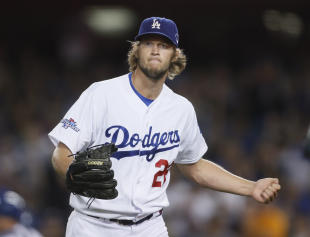 Clayton Kershaw allowed two runs over six innings in the Dodgers' Game 4 victory. (AP)