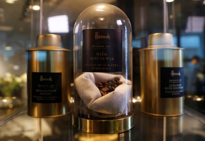 The world's most expensive coffee, Wild Kopi Luwak, is seen on display at Mai Shayi cafe in Victoria Island, Lagos