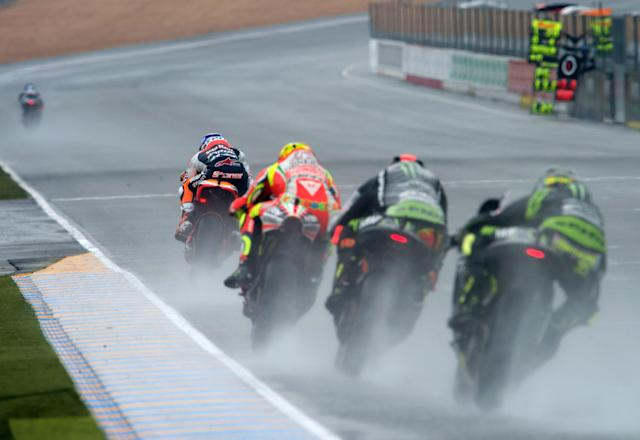 LE MANS, FRANCE - MAY 20: Casey Stoner of Australia and Repsol Honda Team leads the field during the French MotoGP race on May 20, 2012 in Le Mans, France. (Photo by Mirco Lazzari gp/Getty Images)