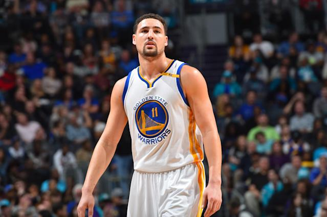 """<a class=""""link rapid-noclick-resp"""" href=""""/nba/players/4892/"""" data-ylk=""""slk:Klay Thompson"""">Klay Thompson</a> might be the Warriors' fourth star, but he's still making his third All-Star appearance. (Getty Images)"""