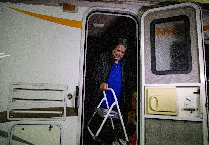 """Military veteran Carlos Gonzalez Jr. -- who was stationed in Japan and Thailand -- has been living in his RV for a few years, and """"safe parking"""" means he does not have to constantly move (AFP Photo/Kyle Grillot)"""