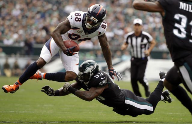 <p>Denver Broncos' Demaryius Thomas (88) is hit by Philadelphia Eagles' Nigel Bradham (53) during the first half of an NFL football game, Sunday, Nov. 5, 2017, in Philadelphia. (AP Photo/Matt Rourke) </p>