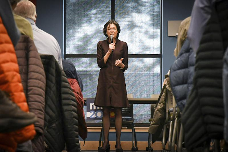 Diana Taylor, the girlfriend of Democratic Presidential candidate Mike Bloomberg. speaks about Bloomberg ahead of the presidential primary at the Morgridge Commons in Glenwood Springs, Colorado, on 17 February: (Chelsea Self/Glenwood Springs Post Independent via AP)