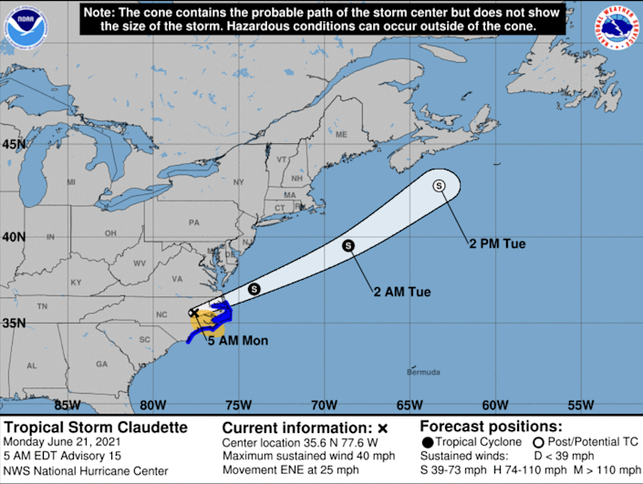 Claudette strengthened into a tropical storm again overnight in North Carolina and is forecast to douse the region for several more hours Monday, with some flooding possible, before heading off into the western Atlantic Ocean.