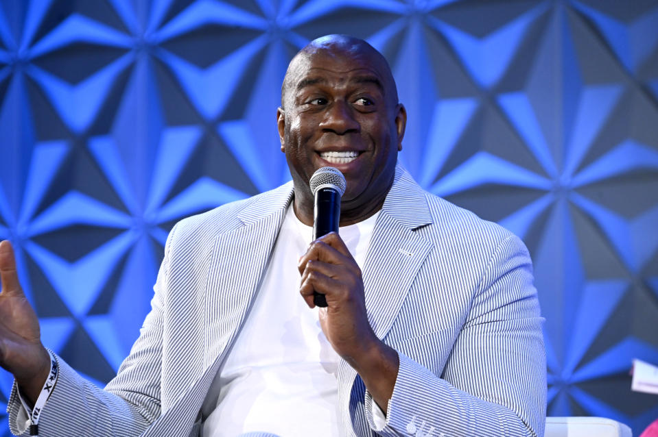 LOS ANGELES, CALIFORNIA - JUNE 22: Magic Johnson speaks onstage during The Genius of Magic Johnson Sponsored by Denny's at The Genius Talks Sponsored By Credit Karma during the BET Experience at the Los Angeles Convention Center on June 22, 2019 in Los Angeles, California. (Photo by Frazer Harrison/Getty Images for BET)