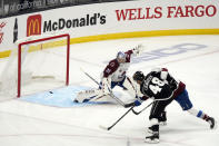 Los Angeles Kings left wing Brendan Lemieux (48) scores past Colorado Avalanche goaltender Philipp Grubauer (31) during the first period of an NHL hockey game Friday, May 7, 2021, in Los Angeles. (AP Photo/Marcio Jose Sanchez)