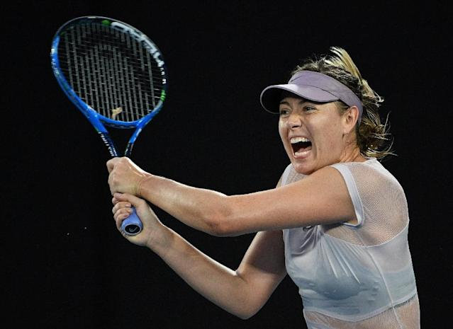 Maria Sharapova, pictured in action in January 2018, lost a two and a half hour match in the first round of the Qatar Open (AFP Photo/SAEED KHAN)
