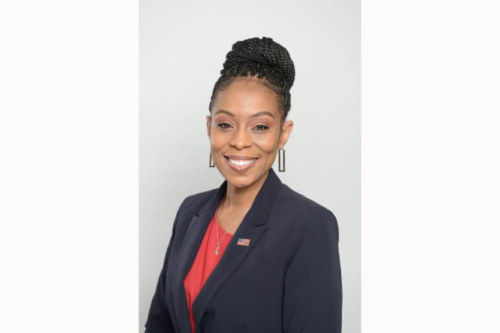 This undated photo provided by Shontel Brown for Congress, shows Democrat Shontel Brown. Brown has defeated progressive Nina Turner in the primary for an open U.S. House seat in northeast Ohio. (Shontel Brown for Congress via AP)