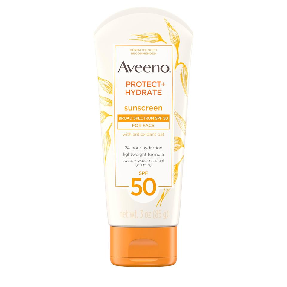"""<p><strong>Aveeno</strong></p><p>walmart.com</p><p><strong>$8.97</strong></p><p><a href=""""https://go.redirectingat.com?id=74968X1596630&url=https%3A%2F%2Fwww.walmart.com%2Fip%2F22178222&sref=https%3A%2F%2Fwww.prevention.com%2Fbeauty%2Fskin-care%2Fg27632513%2Fbest-sunscreen-for-acne%2F"""" rel=""""nofollow noopener"""" target=""""_blank"""" data-ylk=""""slk:SHOP NOW"""" class=""""link rapid-noclick-resp"""">SHOP NOW</a></p><p>This nourishing sunscreen is highly recommended by <a href=""""http://www.zeichnerdermatology.com/"""" rel=""""nofollow noopener"""" target=""""_blank"""" data-ylk=""""slk:Joshua Zeichner, M.D.D"""" class=""""link rapid-noclick-resp"""">Joshua Zeichner, M.D.D</a>, director of cosmetic and clinical research in dermatology at Mount Sinai Hospital in New York City. """"<strong>Colloidal oatmeal in this broad spectrum sunscreen can help calm inflamed skin</strong>, which we commonly see in acne,"""" he explains. """"It is noncomedogenic and shown not to block pores."""" Water- and sweat-resistant for up to 80 minutes, the moisturizing (but non-greasy!) formula works double-duty as a great all-over SPF, too.</p>"""