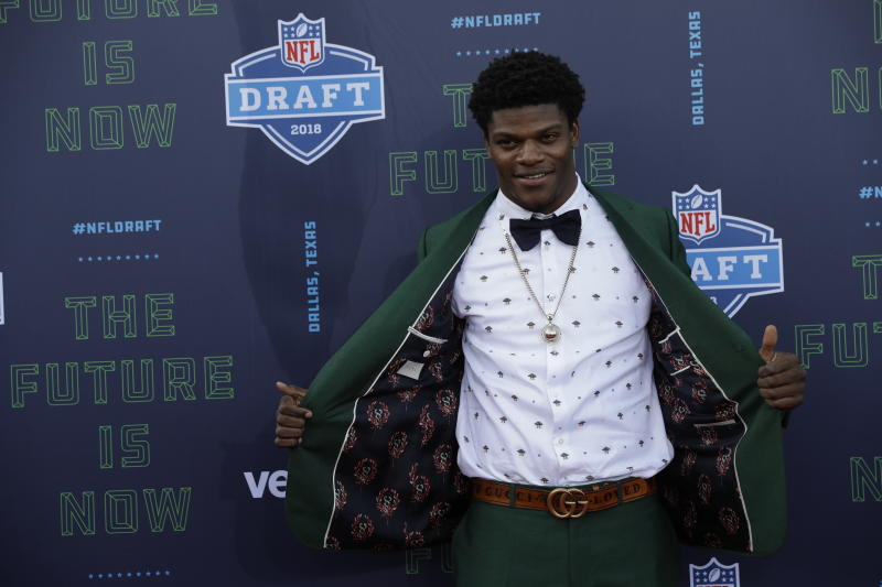 Louisville's Lamar Jackson was drafted in the first round by the Baltimore Ravens. (AP)