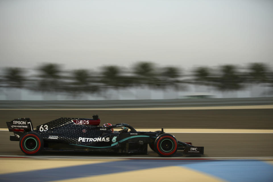 Mercedes driver George Russell of Britain steers his car during the first free practice at the Formula One Bahrain International Circuit in Sakhir, Bahrain, Friday, Dec. 4, 2020. The Bahrain Formula One Grand Prix will take place on Sunday. (Brynn Lennon, Pool via AP)