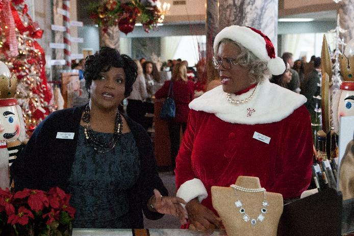 """This image released by Lionsgate shows Anna Maria Horsford, left, and Tyler Perry in a scene from """"Tyler Perry's A Madea Christmas. (AP Photo/Lionsgate, KC Bailey)"""