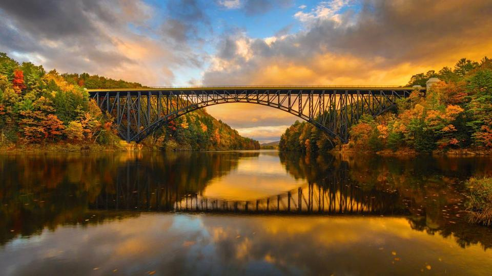 <p>Autumn in New England is filled with stunning foliage, made prettier against the Connecticut River here in Erving, Massachusetts. </p>