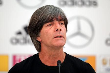 FILE PHOTO: Soccer Football - FIFA World Cup - Germany Squad Announcement - Eppan, Italy - June 4, 2018 Germany coach Joachim Loew during the press conference REUTERS/Lisi Niesner