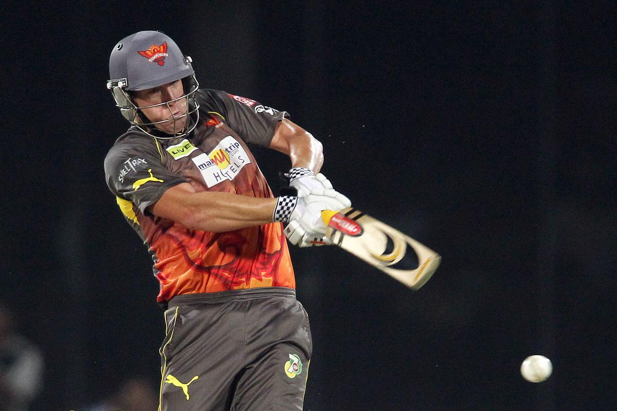 Sunrisers Hyderabad captain Cameron White pulls a delivery through the leg side during the eliminator match of the 2013 Pepsi Indian Premier League between The Rajasthan Royals and the Sunrisers Hyderabad held at the Feroz Shah Kotla Stadium, Delhi on the 22nd May 2013.(BCCI)