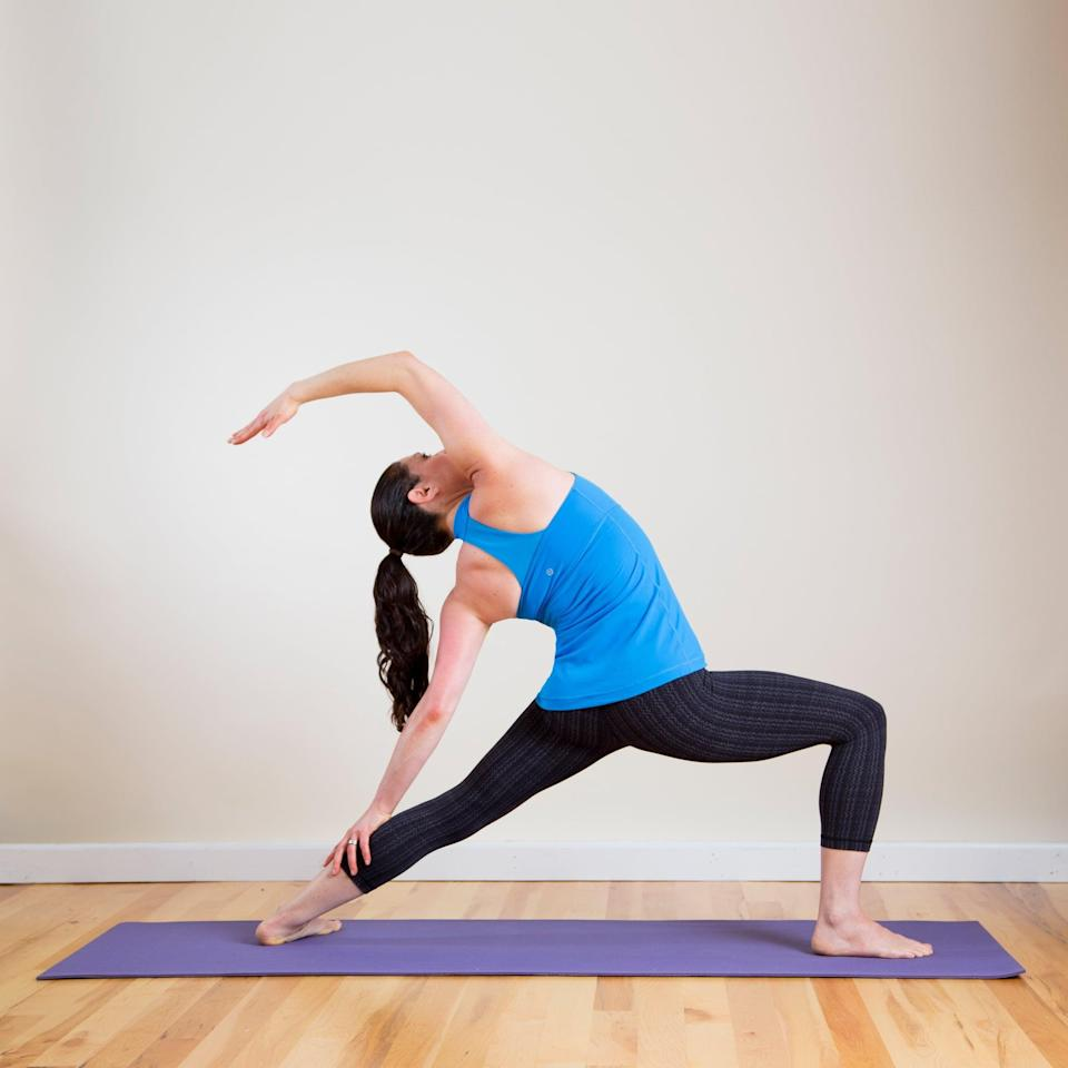 <p><strong>Sanskrit Name:</strong> Anjaneyasana </p> <p><strong>English Translation:</strong> Crescent Moon Pose </p> <p><strong>Also Called:</strong> Reverse Warrior, Crescent Lunge Pose </p> <ul> <li>Begin in Downward Facing Dog. Step your right foot forward between your hands, coming into Warrior 1. Then open hips, arms, and chest into Warrior 2.</li> <li>Gently arch back and rest your left hand on the back of your left leg. Raise your right arm overhead, feeling the stretch through the right side of the body. Make sure you continue to lower your hips and press your front knee forward so it's directly over your right ankle.</li> <li>Remain here for five breaths. Lift your torso up, place your hands on the floor, and move back into Down Dog. Step your left foot forward and do this pose on the left side. </li> </ul>