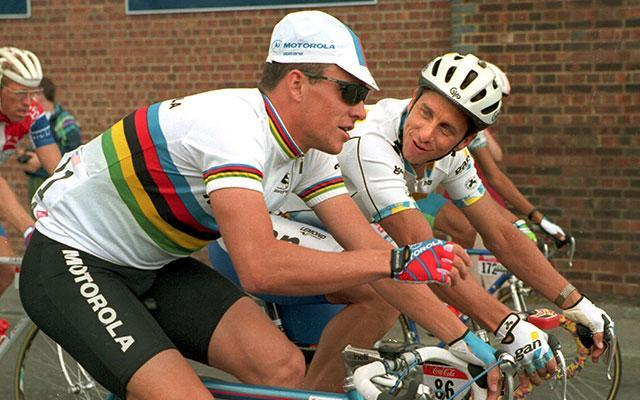 Lance Armstrong, left, talks to Greg LeMond. (Getty Images)