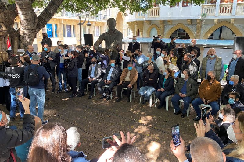 Activists gather two days after the killing of prominent Hezbollah critic Lokman Slim in Beirut