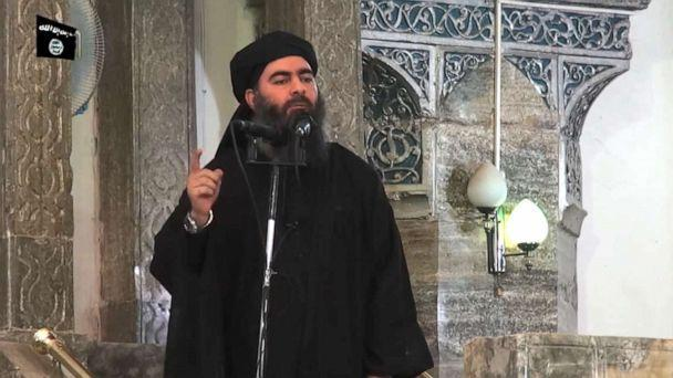 PHOTO: An image grab taken from a propaganda video released, July 5, 2014, by al-Furqan Media allegedly shows the leader of the Islamic State jihadist group, Abu Bakr al-Baghdadi, aka Caliph Ibrahim, adressing Muslim worshippers at a mosque in Mosul. (al-Furqan Media/AFP/Getty Images, FILE)