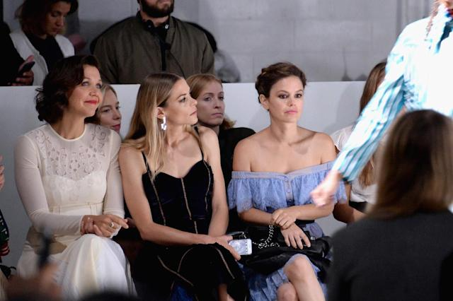<p>Actresses Maggie Gyllenhaal, Jaime King and Rachel Bilson attend the Self-Portrait Spring Summer 2018 Front Row during New York Fashion Week on September 9, 2017 in New York City. (Photo by Andrew Toth/Getty Images for Self-Portrait ) </p>