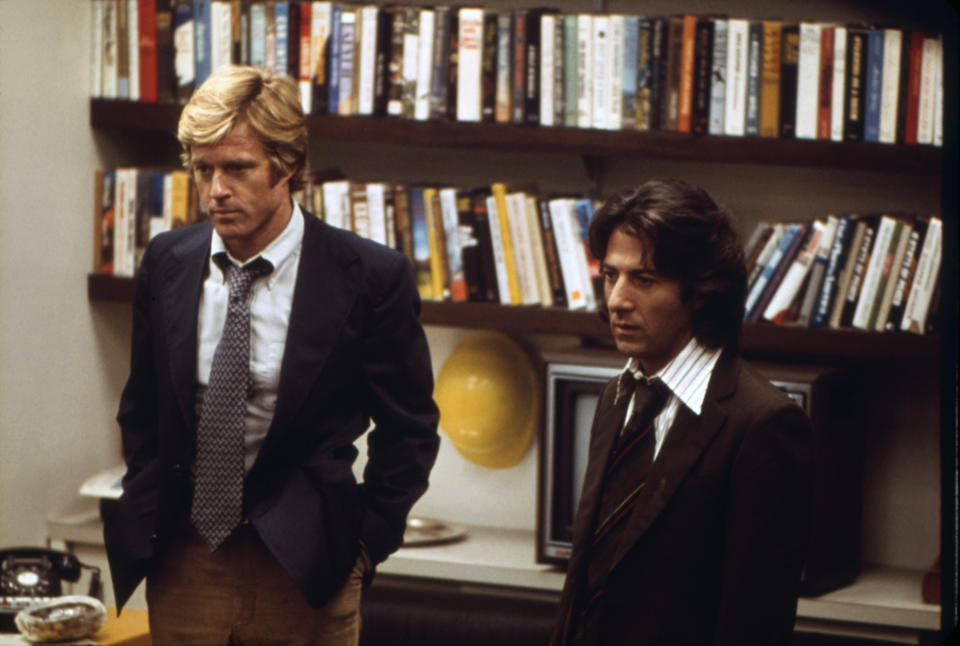 American actors Robert Redford and Dustin Hoffman on the set of All The President's Men, based on the book by Carl Bernstein and directed by Alan J. Pakula. (Photo by Warner Bros./Sunset Boulevard/Corbis via Getty Images)