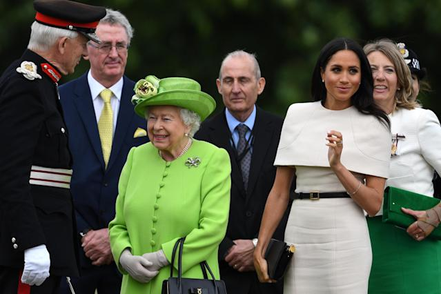 Queen Elizabeth II and the Duchess of Sussex teamed up for a royal appearance. (Photo by Jeff J Mitchell/Getty Images)