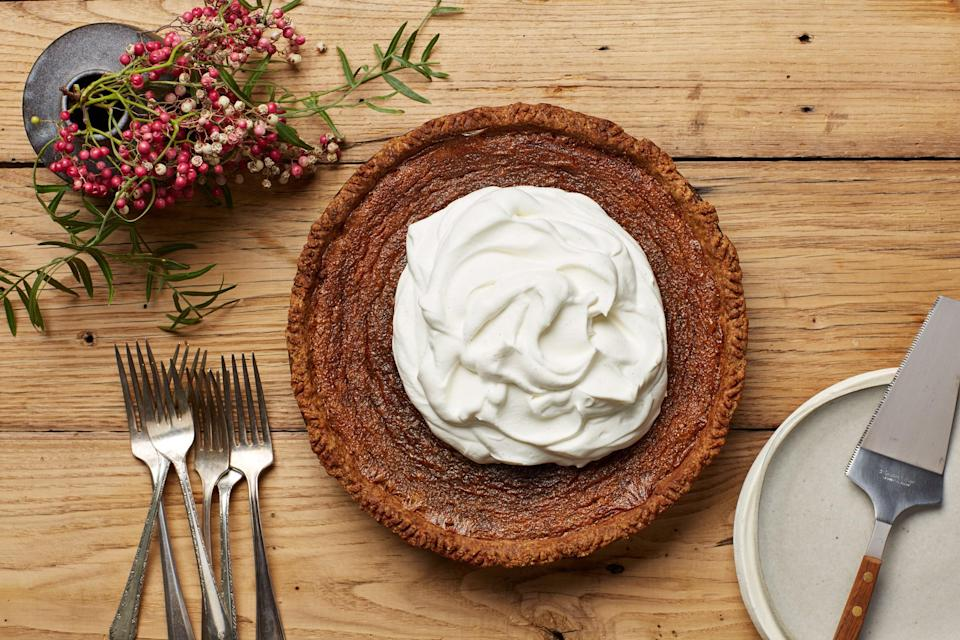 """Earthy maple syrup, smoky bourbon, and caramely brown sugar join forces to make the rich custard that fills this decadent pie. <a href=""""https://www.epicurious.com/recipes/food/views/deep-dish-maple-bourbon-cream-pie?mbid=synd_yahoo_rss"""" rel=""""nofollow noopener"""" target=""""_blank"""" data-ylk=""""slk:See recipe."""" class=""""link rapid-noclick-resp"""">See recipe.</a>"""