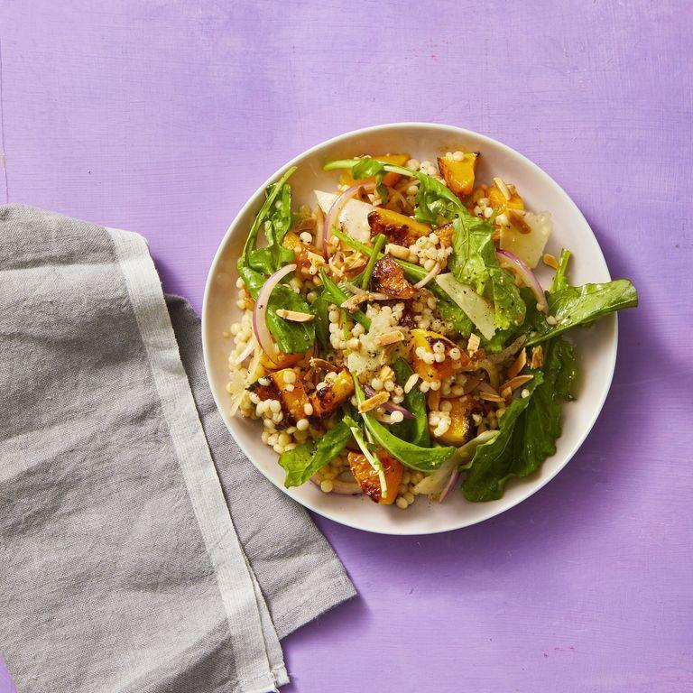 """<p>This meatless salad is easy to make and ensures you'll be fully satisfied when you finish it. </p><p><em><a href=""""https://www.womansday.com/food-recipes/food-drinks/a29844707/roasted-squash-salad-recipe/"""" rel=""""nofollow noopener"""" target=""""_blank"""" data-ylk=""""slk:Get the Roasted Squash Salad recipe."""" class=""""link rapid-noclick-resp"""">Get the Roasted Squash Salad recipe.</a></em></p>"""