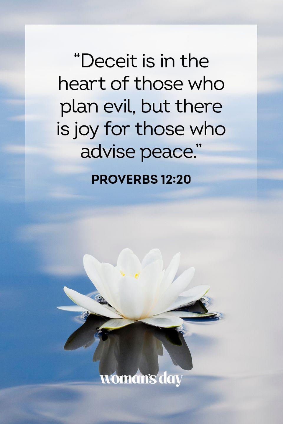 """<p>""""Deceit is in the heart of those who plan evil, but there is joy for those who advise peace."""" — Proverbs 12:20</p><p><strong>The Good News</strong>: Once you invite peace and happiness into your life, you will continue to get it. Peace begets peace.</p>"""