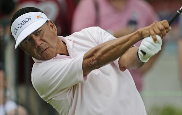 Esteban Toledo, of Mexico, watches his drive from the 14th tee during third round play in the Regions Tradition golf tournament at Shoal Creek Country Club in Birmingham, Ala., Saturday, June 8, 2013. (AP Photo/Dave Martin)