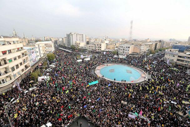 PHOTO: Iranian pro-government demonstrators gather in the capital Tehran's central Enghelab Square on Nov. 25, 2019, to condemn days of 'rioting' that the Islamic republic blames on its foreign foes. (Atta Kenare/AFP via Getty Images, FILE)