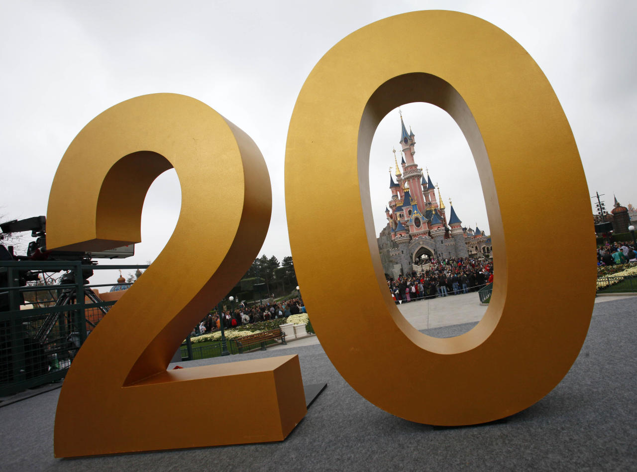The Sleeping Beauty castle is seen in Disneylands theme park in Marne-la-Vallee, east of Paris, Saturday March 31, 2012. This will mark the 20th year since Disneyland opened in Paris in 1992.(AP Photo/Michel Spingler)