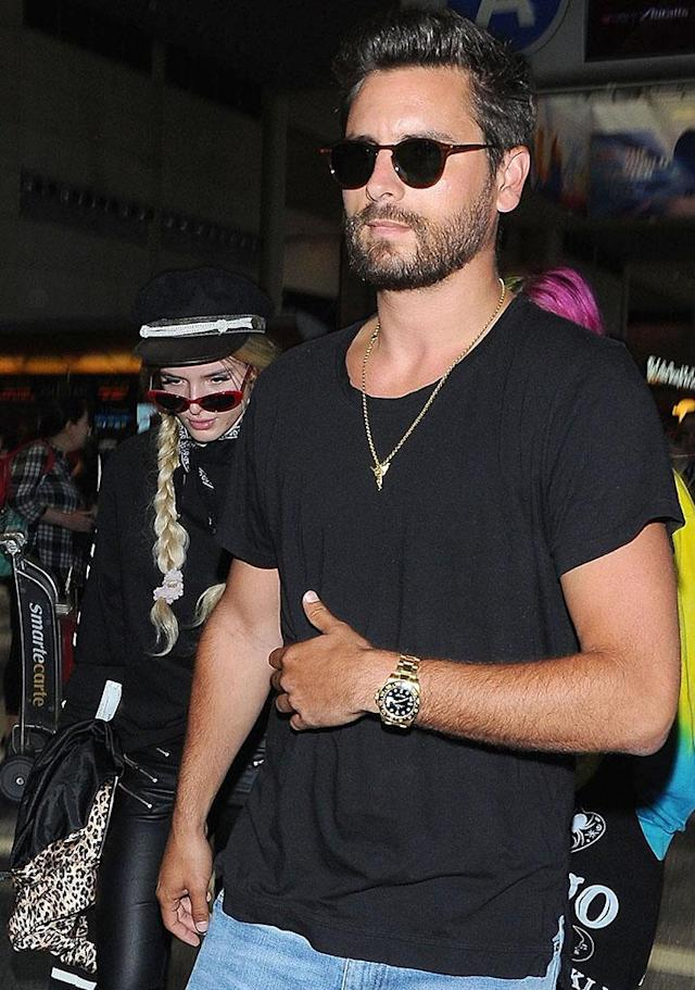 Bella Thorne and Scott Disick, who want us to think there is something going on between them, together at Los Angeles International Airport on May 22. (Photo: BACKGRID)