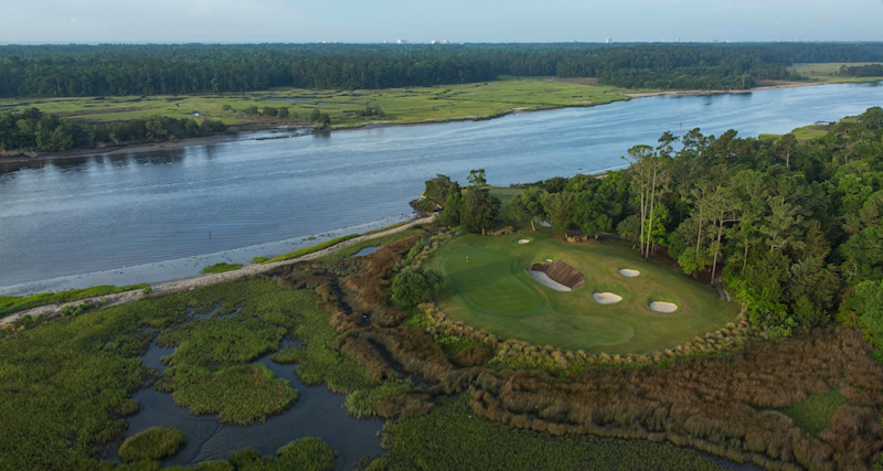 The 17th hole at Glen Dornoch, which sits right on the Intracoastal Waterway. Glen Dornoch just completed a course renovation last week, and it now braces for Hurricane Florence.