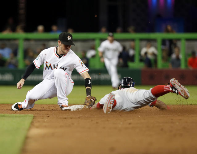 Washington Nationals' Wilmer Difo, right, is tagged out by Miami Marlins shortstop JT Riddle as he attempted to steal second base during the third inning of a baseball game, Tuesday, Sept. 18, 2018, in Miami. (AP Photo/Wilfredo Lee)