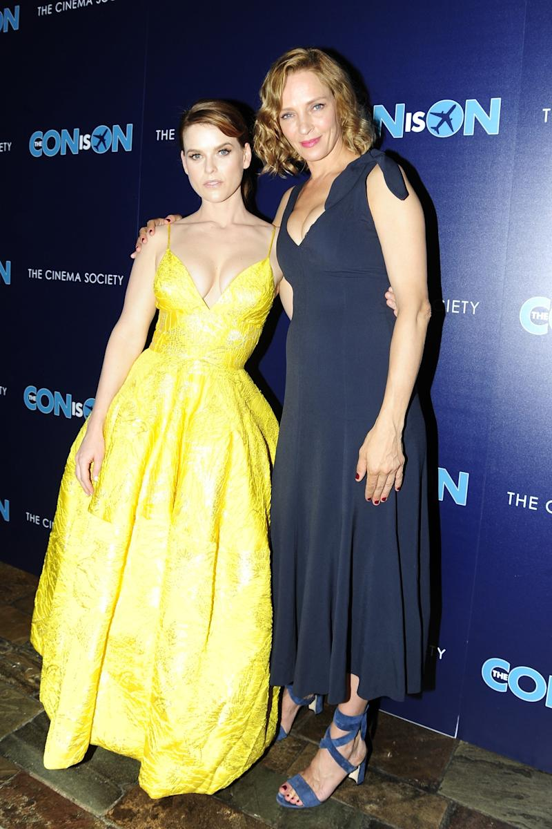 """Alice Eve and Uma Thurman attend The Cinema Society hosts a screening of """"The Con is On"""" at the The Roxy Cinema."""