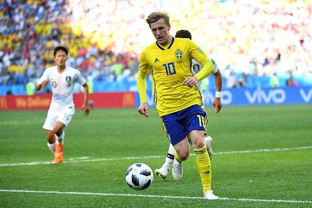 Emil Forsberg in action against South Korea in Sweden's opening World Cup game (AFP Photo/Johannes EISELE)