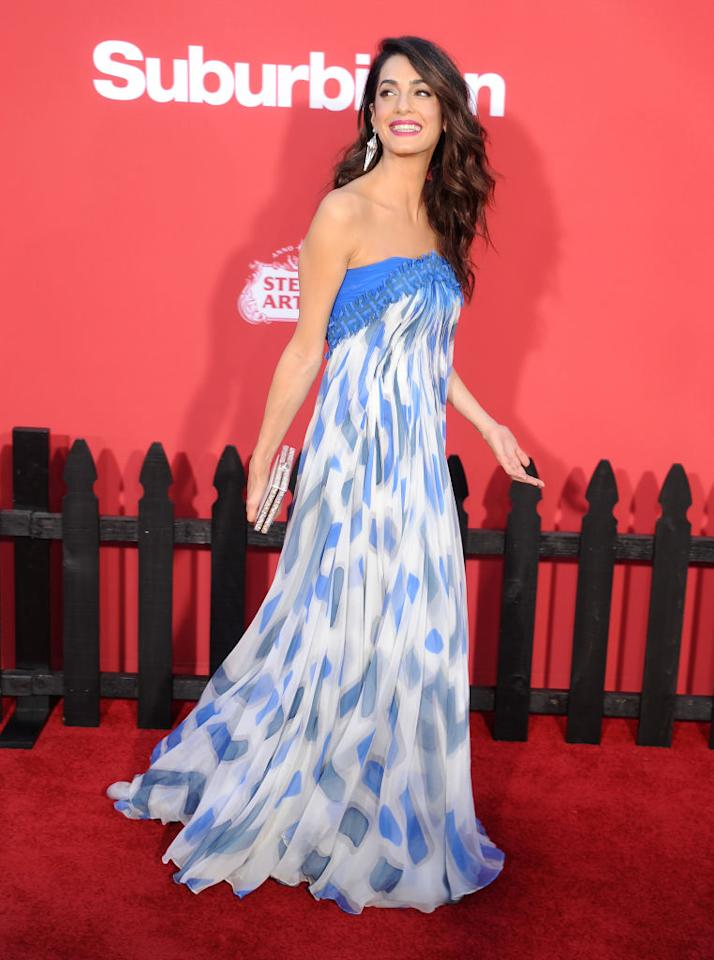 <p>Amal Clooney made her second post-pregnancy red carpet appearance yesterday at the premiere of new film, <em>Suburbicon</em>. Husband George co-wrote the production therefore joined Amal and her mother on the red carpet at Regency Village Theatre. <em>[Photo: Getty]</em> </p>