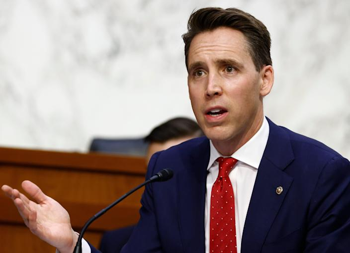Sen. Josh Hawley, R-Mo., questions Supreme Court nominee Amy Coney Barrett during the third day of her confirmation hearings before the Senate Judiciary Committee on Capitol Hill in Washington, Wednesday, Oct. 14, 2020.