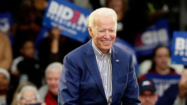 PHOTO: Democratic presidential candidate former Vice President Joe Biden smiles while being introduced at a campaign event at Saint Augustine's University in Raleigh, N.C., Feb. 29, 2020. (Gerry Broome/AP)