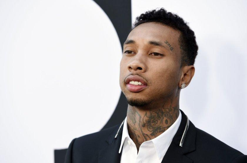 "Rapper Tyga, a cast member in ""Dope,"" poses at the premiere of the film at the Los Angeles Film Festival this June in Los Angeles."